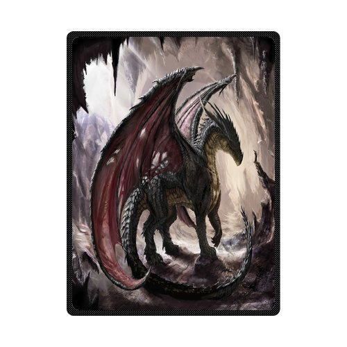 - Daniellestore Soft Bed sheet Plush Throw Blanket Bedding Sleep Dragon in Cave 58 x 80 Inch