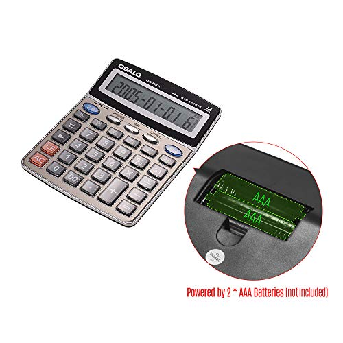 Walmeck OSALO OS-802CK Multi-Function Musical Electronic Desktop Calculator Counter 12-Digits LCD Display with Alarm Clock Calendar Voice Reading Functions Can Play - Keyboard Piano Calculator