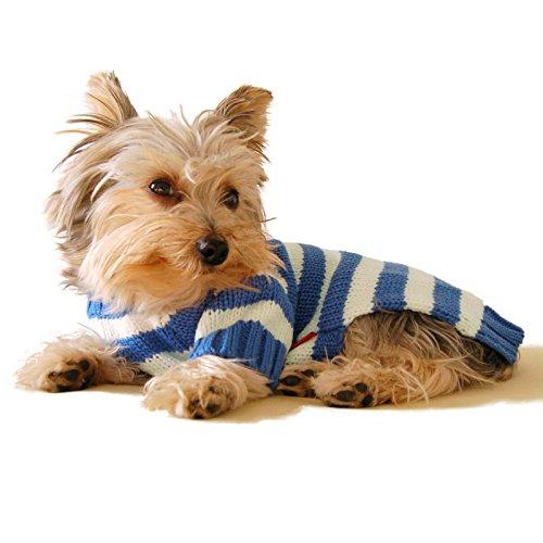 Stinky G Blue Stripe Dog Hoodie Sweater #12 - M