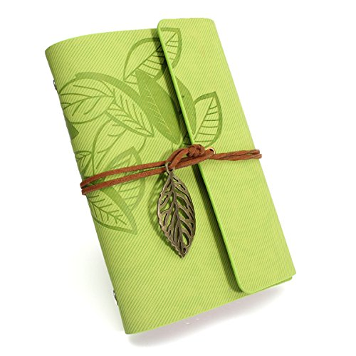 Openwork Leaf - KINGSO Notebook Notepad Journal Diary Jotter with Openwork Leaves Pendant £¬Vintage Leather Cover Loose Leaf Light Green