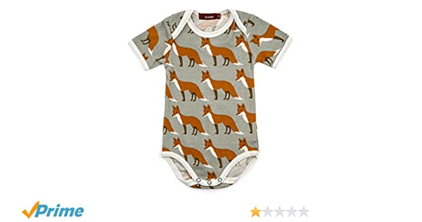 fe32bd48c Amazon.com  Milkbarn Short Sleeve Onesie (Orange Fox