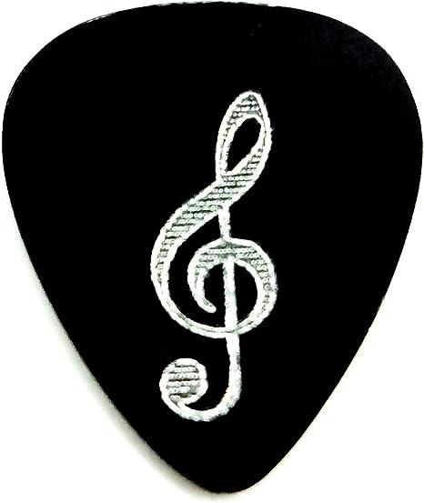Púa Guitarra Aluminio Anodizado Negro con Clave Sol: Amazon.es ...