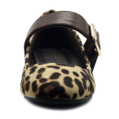 On Ollio Shoes Comfort Ballet Light Leopard Suede Faux Mary Belt Flats Slip Women's Jane gFwgf1C