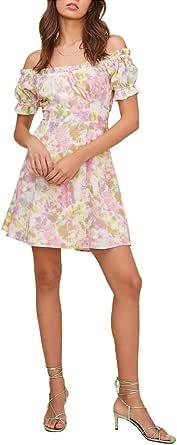 ASTR the label Women's Off-The-Shoulder Gathered Sleeve Imagine Mini Dress