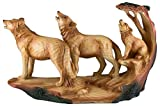 "Custom & Unique {9.75"" x 5.5"" Inch} 1 Single, Home & Garden ""Standing"" Figurine Decoration Made of Grade A Resin w/Wolves w/Wolf Cub Howling Carved Wood Look Style {Brown, Tan, Black}"