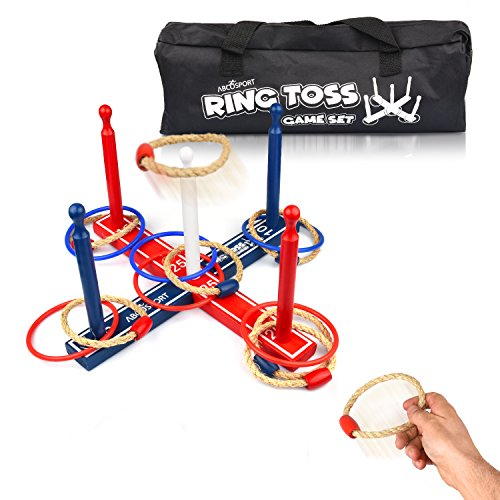 Ring Toss Game Set – Wooden Yard Game – 8 Ropes and 8 Plastic Rings – For Adults & Kids – Ideal for Indoor/Outdoor – Improves Eye-Hand Coordination - Quoits Set for All Parties and Events