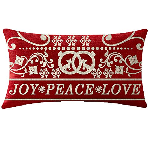 NIDITW Happy Winter Joy Peace Love Merry Christmas Beautiful Floral Chihuahua Snowflakes Waist Lumbar Red Cotton Burlap Linen Throw Pillow case Cushion Cover Sofa Decorative Oblong Long 12X20 Inches (Peace Love Pillows)