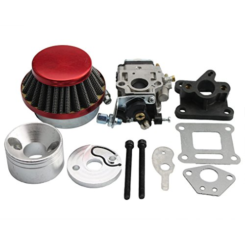 GOOFIT 15mm Carburetor Rebuild Kit with Air Filter for 2 Stroke 47cc 49cc Mini ATV Quad Pocket Bike (Parts Bike Pocket X7)