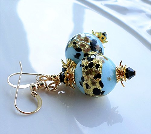 Blue Black Gold Murano Glass Earrings by H&H Jewelry Designs