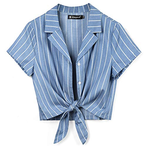 - Allegra K Women's Button Down Chambray Crop Shirts Tie Front Blouse Short Sleeve Casual Summer Tops L Blue