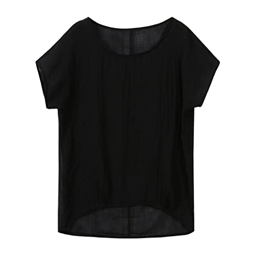 c91cf36b00269 Auwer Women Summer T-Shirt Casual Plain Loose Blouse Shirt Batwing Asymmetrical  Tops Plus Size