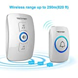 Wireless Doorbell, TeckNet Remote Waterproof Plug in Wireless Door Bell Chime Kit with LED Light, 1 Receiver and 1 Push Button, Operating at 820-feet Range with 32 Chimes