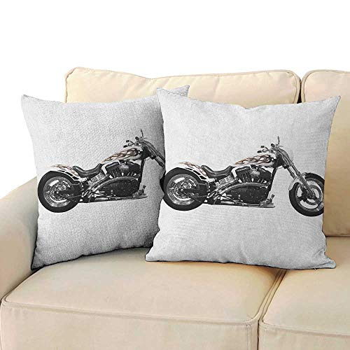 (RenteriaDecor Manly,Printed Pillowcase Motorbike Hipster Style Dangerous Risky Ride Driving Vehicle Throttle Chopper 14