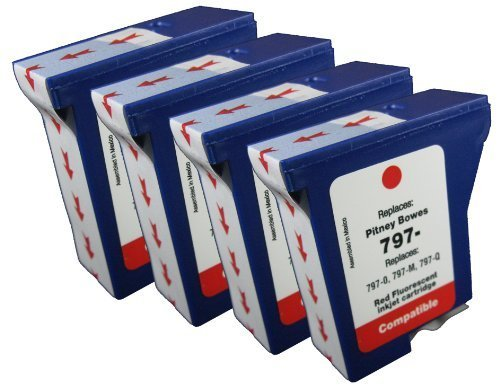 - 4pk of Compatible Pitney Bowes 797-0 797-M 797-Q Postage Meter ink for use in Pitney Bowes MailStation, K700, K7M0, MailStation 2 machines-red fluorescent