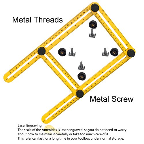 Angularizer Ruler Multi Angle Template Tool Best Gift Measuring Plastic with Metal Threads and Screws by Poco Poca (Image #7)