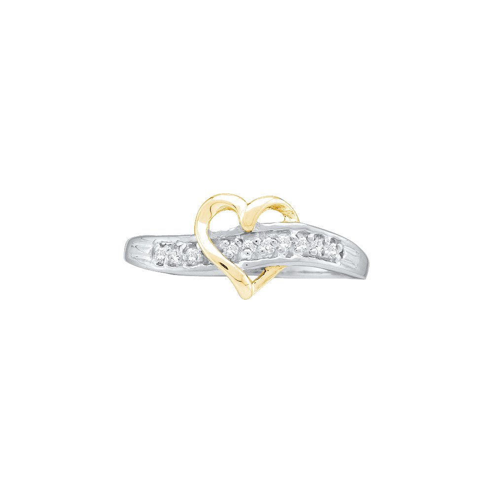10kt White Gold Womens Round Diamond Heart Love Ring 1/20 Cttw (I2-I3 clarity; J-K color)