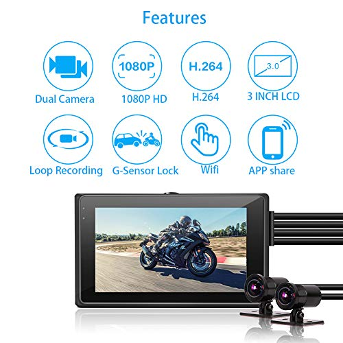 Motorcycle Dash Camera VSYSTO M2D, Front and Rear Motorbike