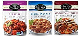 Saffron Road Authentic Recipe Simmer Sauce 3 Flavor Variety Bundle: (1) Saffron Road Tikka Masala Simmer Sauce, (1) Saffron Road Harissa Simmer Sauce, and (1) Saffron Road Moroccan Tagine Simmer Sauce, 7 Oz. Ea. (3 Pouches Total)