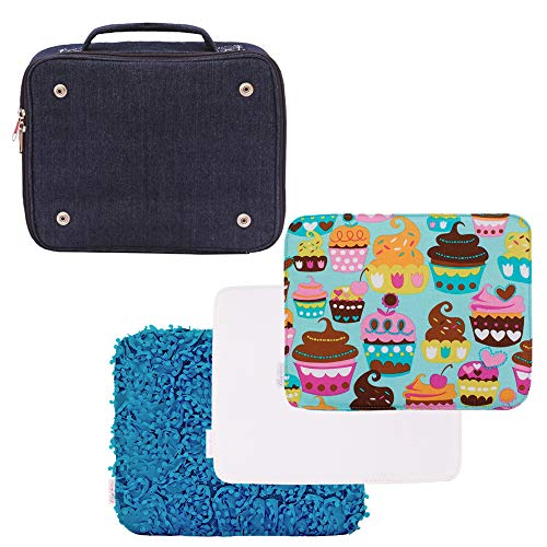 Girls' Denim Lunch Bag with 3 Interchangeable Exterior Covers, Three Lunch Bags in ONE - 1 Turquoise Cupcake Print, 1 Teal Floral lace & 1 Plain White to Decorate at Home Jubilee Turq Lily Teal MLW