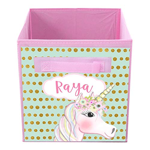 Toad and Lily Gold Unicorn Fabric Bin Kid's Personalized Bedroom Baby Nursery Organizer for Toys or Clothing FB0101