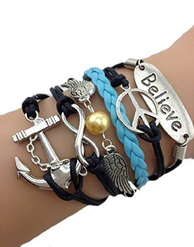 Bracelet ancre de bateau. peace and love. Believe. ailes d'ange et lien infini