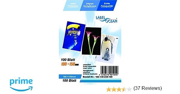 LabelOcean 100 hojas de papel premium foto de 10x15cm 230 g / qm Highglossy alto brillo impermeable: Amazon.es: Hogar