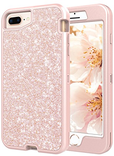 - Coolwee Rugged Shockproof iPhone 8 Plus case,Heavy Duty iPhone 7 PLUS/6S Plus Case for Girls Women Glitter with Rose Gold Bumper Hybrid Hard Shell for Apple iPhone 6 Plus iPhone 7 Plus 8 Plus Sparkle