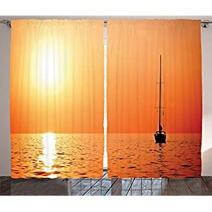 Navigational Curtains Sailboat Decor Lonely Yacht at Sunset Sailing Competition Race Teamwork Vessel Winner Print Living Chamber Bedroom Decor 2 Panel Set
