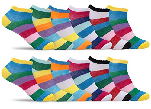 Womens 12 Pack of Lightweight Soft Fun, Funky and Colorful Patterned Anklet Ankle Socks (Shoe: 5-10 / Sock: 9-11, Multicolor - Fun And Funky