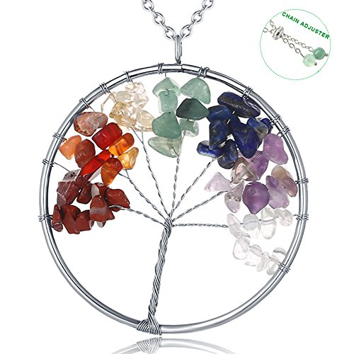 Tree of Life Pendant Necklace 31 inches Dainty 7 Chakra Long Necklaces for Women Jewelry