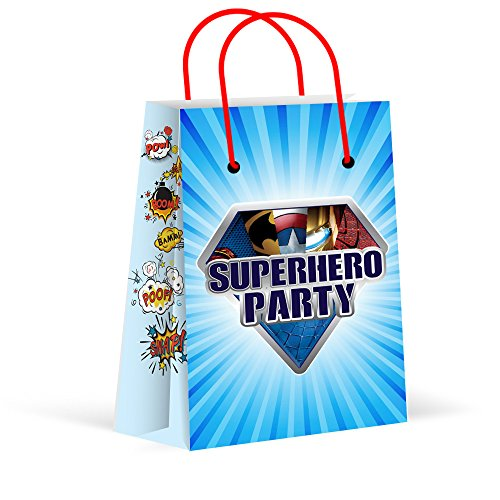 LARZN Premium Superhero Party Bags, New, Treat Bags, Gift Bags ,Goody Bags, Superhero Party Favors, Superhero Party Supplies, Decorations, 12 Pack -