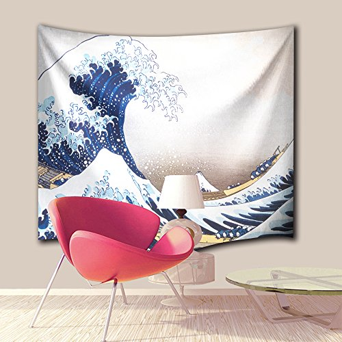 Japanese Artist Hokusai Wall Hanging Tapestry Decor by IMEI, Lightweight Fabric Sea Landscape Wall Art Beach Blanket Mandala Throw Bedspread for Dorm, Bedroom (51 X 60 Inch, Great Wave Off Kanagawa)