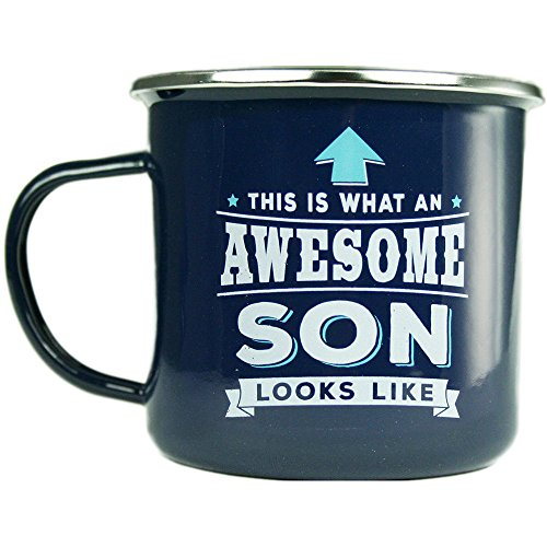 H & H Top Guy Mug Son, Large Camping Coffee Mug, Enamel, 14 oz, Multi-Colored, Light-weight, Retro Inspired for Men