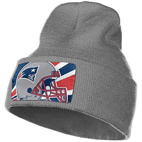 New England Patriots Unisex Men Skullies Beanies Knitted Hat Winter Hats for Women Warm Thicken Solid Beanies,Deep Heather,One Size (Toboggan Patriots)