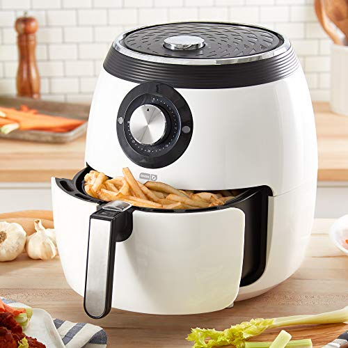 Dash DFAF455GBWH01 Deluxe Electric Air Fryer + Oven Cooker with Temperature Control, Non Stick Fry Basket, Recipe Guide + Auto Shut Off Feature, 6 qt, White