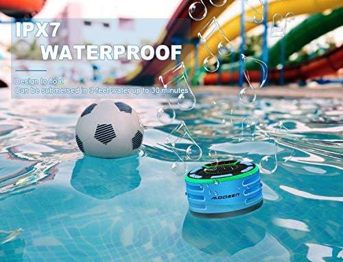 Enceinte Bluetooth, moosen IPX7 étanche Portable sans Fil Haut-Parleur Bluetooth avec FM Radio, LED Display, TWS and Light Show, Waterproof Shower Speaker pour Salle de Bains Pool Plage Outdoor