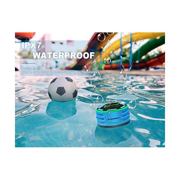Enceinte Bluetooth, moosen IPX7 étanche Portable sans Fil Haut-Parleur Bluetooth avec FM Radio, LED Display, TWS and Light Show, Waterproof Shower Speaker pour Salle de Bains Pool Plage Outdoor 2