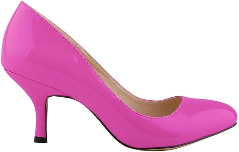WanYang Mujer Tacón Bajo Aguja Fino Fiesta Vestir Elegante Verano Zapatos de Tacón Bajo de Oficina