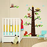 Woodland Animals Wall Height Chart, Forest Animal Friends Growth Chart Tree, Owl Birds Nursery Vinyl Wall Decal, Children Wall Sticker and Growth Chart
