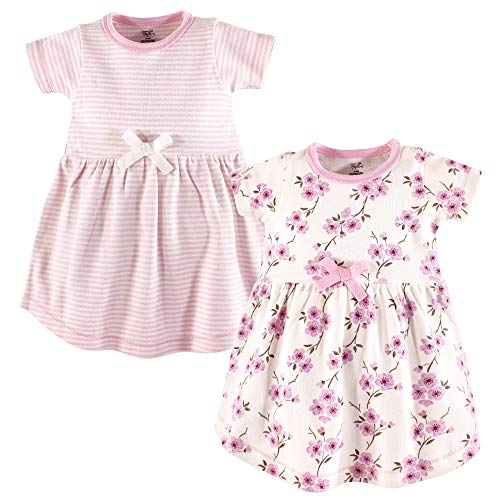 Touched by Nature Baby Girls Organic Cotton Dress, Cherry Blossom Short Sleeve 2-Pack, 3-6 Months (6M)