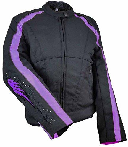 Ladies Textile Jacket W/Purple Reflective Wings & Embroidery (Biker Textile Jacket Womens)