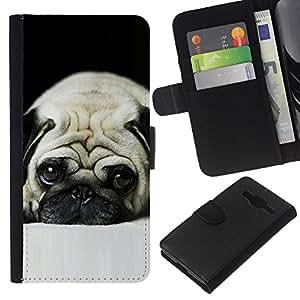 eJoy---La carpeta del tirón la caja de cuero de alta calidad de la PU Caso protector - Samsung Galaxy Core Prime - --Pug Sad Dog Eyes Pet Cute Puppy