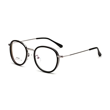 fa08f5f7f27 Image Unavailable. Image not available for. Color  TR90 Metal Glasses Frame  Big Round Thin Rim Men Women Optical Myopia Eyewear