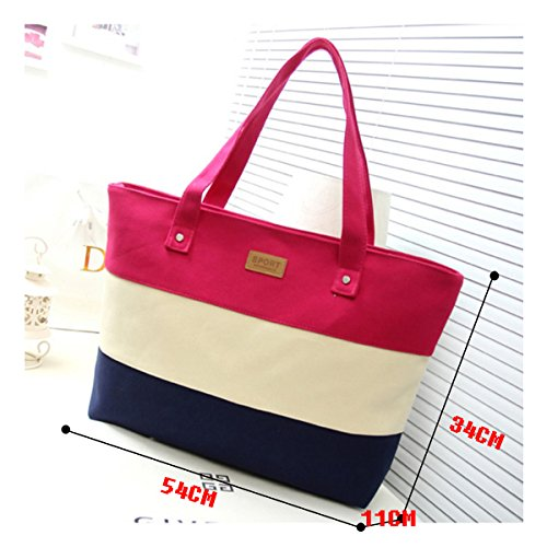 Fashion color Haute Rose Red Tote Stripes Shoulder Stitching Womens La rose Bag Red Three Canvas Handbag d8OqwEwxn