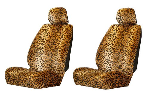 Plasticolor 6598R01 2-pc Leopard Wild Skinz Seat Covers - Leopard Car Seat