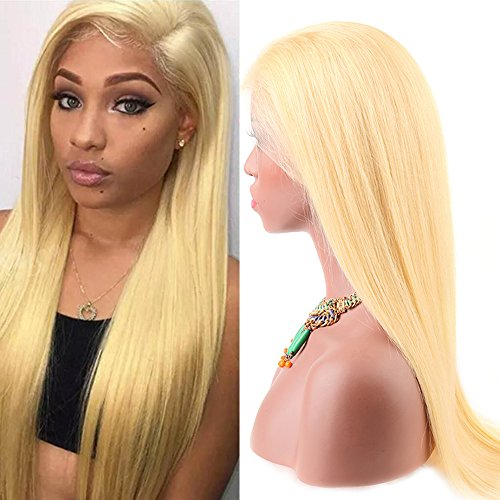 Sent Hair Glueless 613 Blonde Full Lace Human Hair Wig Straight with Adjustable Straps and Combs Free Part with Baby Hair Bleach Blonde (20 inch Straight Full Lace Wig) -  Qingdao Sent Hair Products Co.,Ltd., 613-FLW-ST-F20