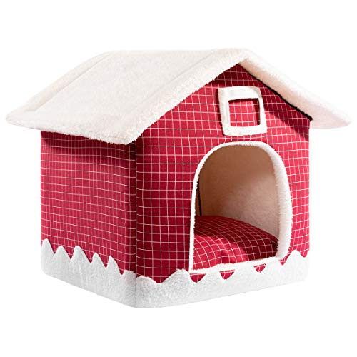 Hollypet Cozy Pet Bed Warm Cave Nest Sleeping Bed Puppy House for Cats and Small Dogs, 16 x 16 inches