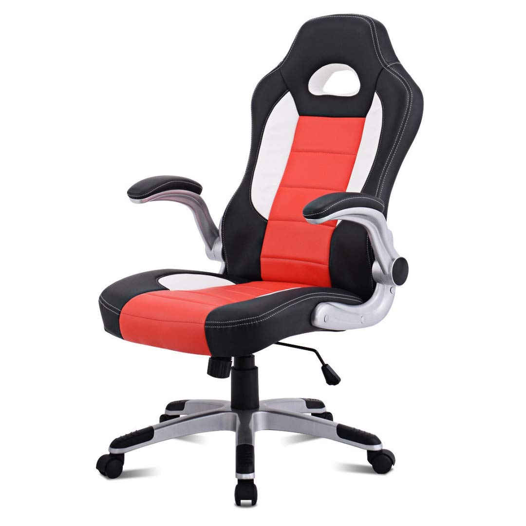 Modern Executive High Back Racing Style Gaming Chairs 360-degree Swivel PU Leather Upholstery Thick Padded Seat Adjustable Armrest School Office Home Furniture - (1) Orange #2129 by KLS14