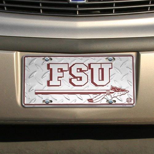 (NCAA Florida State Seminoles (FSU) Silver Metal License Plate)