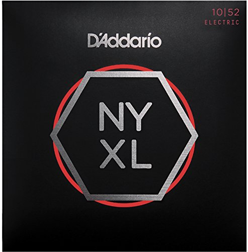 D'Addario NYXL1052 Nickel Plated Electric Guitar Strings,Light Top/Heavy Bottom,10-52 - High Carbon Steel Alloy for Unprecedented Strength - Ideal Combination of Playability and Electric Tone
